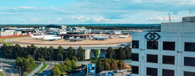 Vista aeroportuale dalla camera del Premier Inn di Gatwick