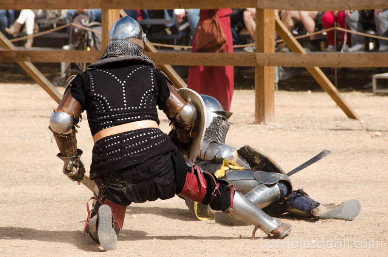 dos guerreros peleando con sus armaduras, espadas y escudos en el torneo internacional de combate medieval