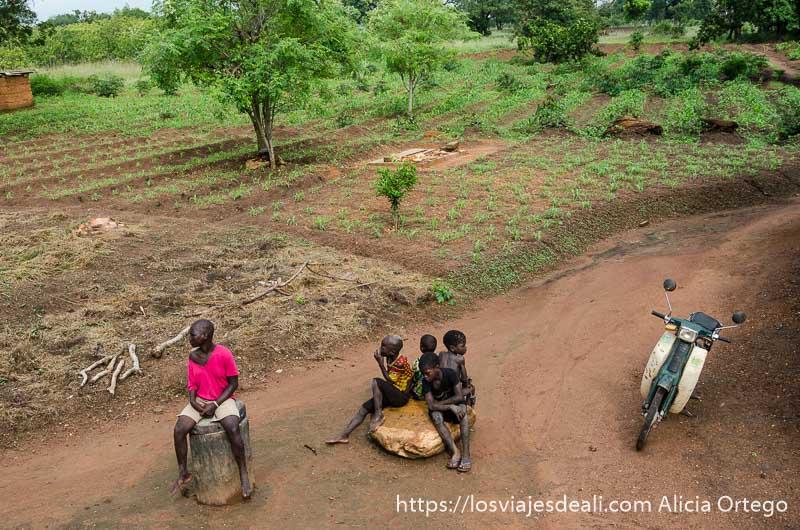 campos de cultivo de los somba y cuatro niños sentados en una roca junto a una pequeña moto