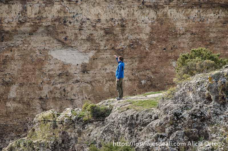 visitante con gersey azul mirando los buitres en la pared de roca de las hoces del duratón