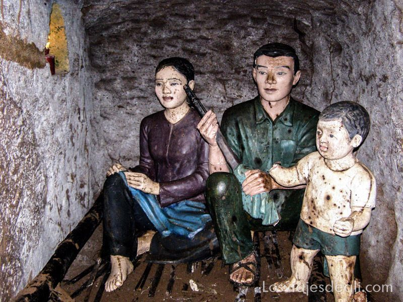 interior de los túneles de Vinh Moc guerra de Vietnam