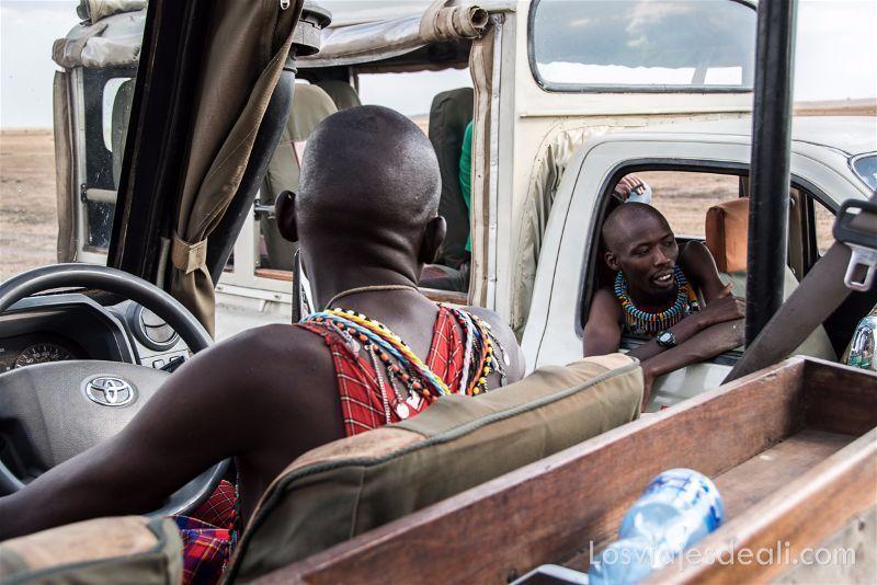 chóferes masai charlan de vehículo a vehículo en Masai Mara