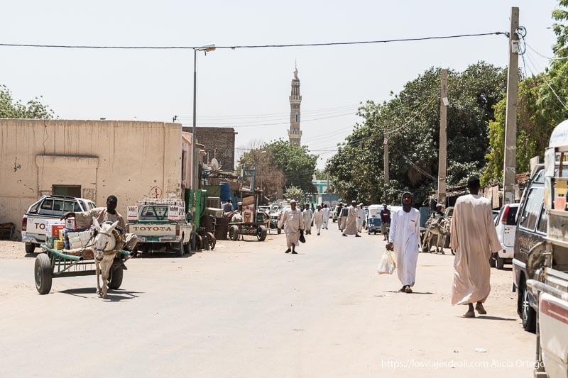 calle de Kerma con un hombre en su carro tirado por un burro y mezquita al fondo