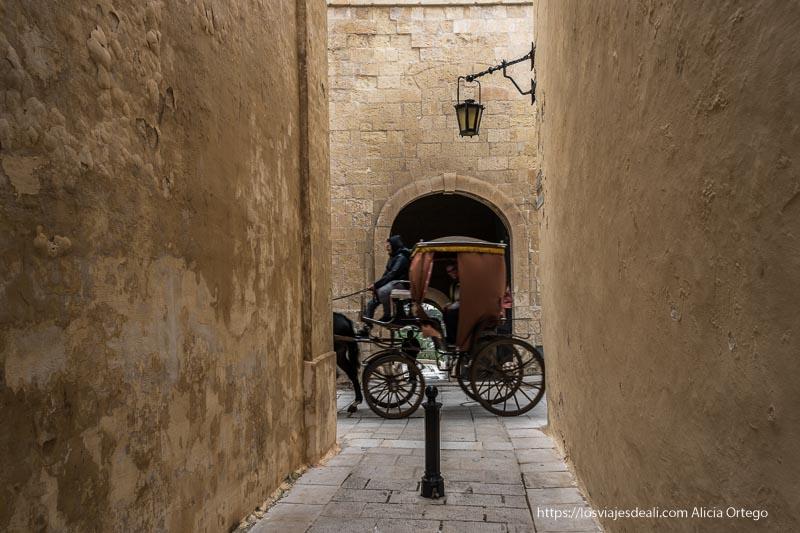 coche de caballos en las calles estrechas de Mdina en malta