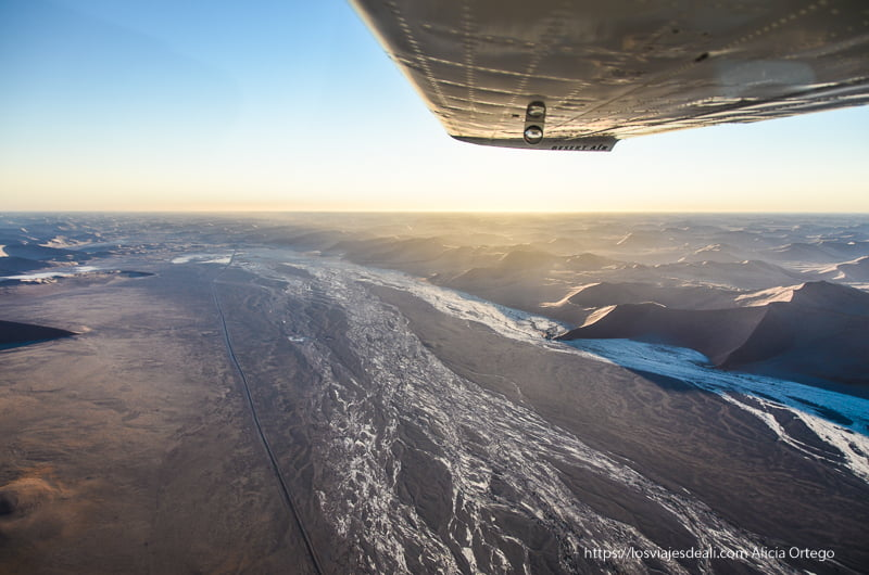 vuelo en avioneta sobre el desierto del Namib