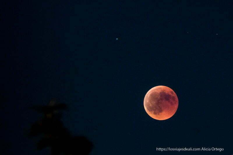 eclipse de luna 2018 en su apogeo con luna muy roja
