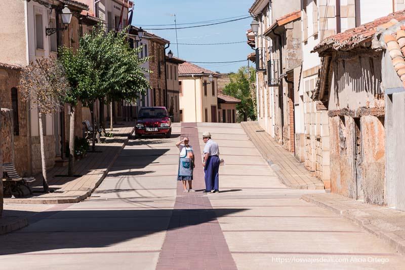 calle de rioseco con casas de arquitectura tradicional y dos paisanos hablando en el centro de la calle