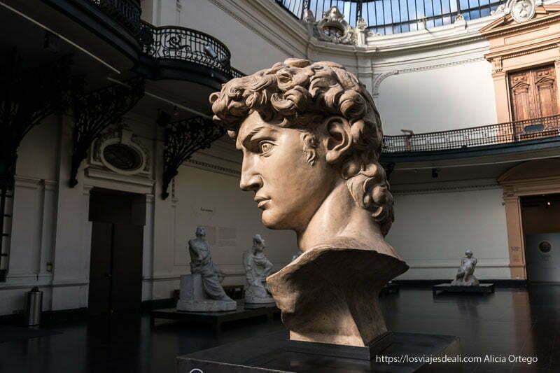 busto del David de Miguel Angel en museo de bellas artes de santiago de chile