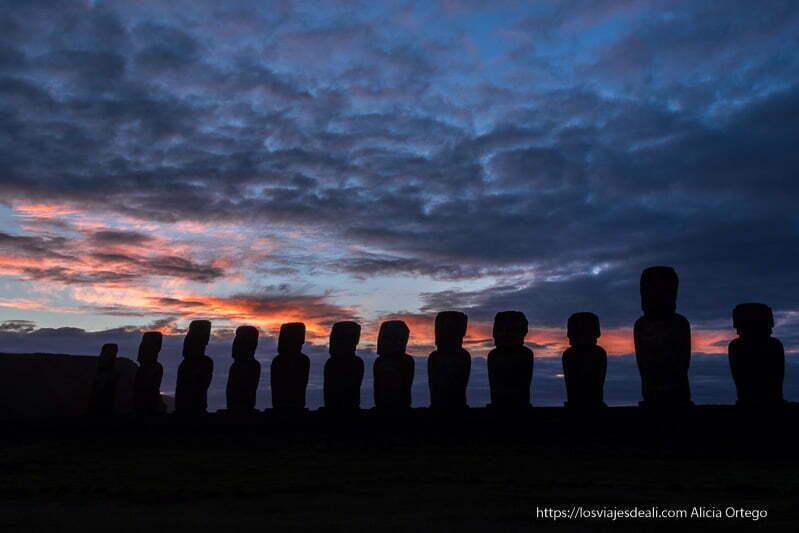 fila de moais al amanecer resumen de un gran año de viajes