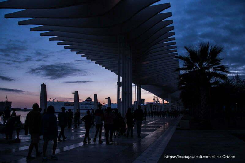 atardecer en el paseo junto al puerto centro de málaga