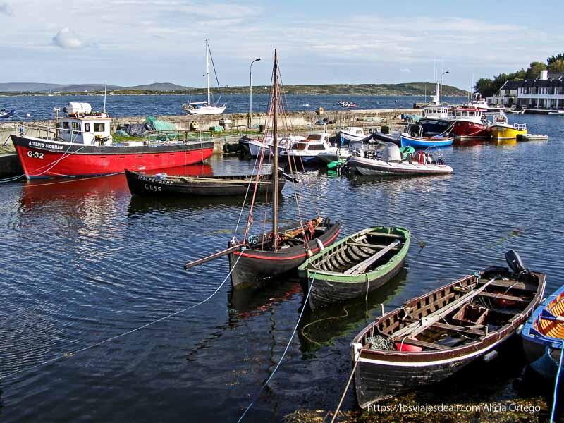 puerto pesquero de roundstone con barquitas de pesca de varios colores