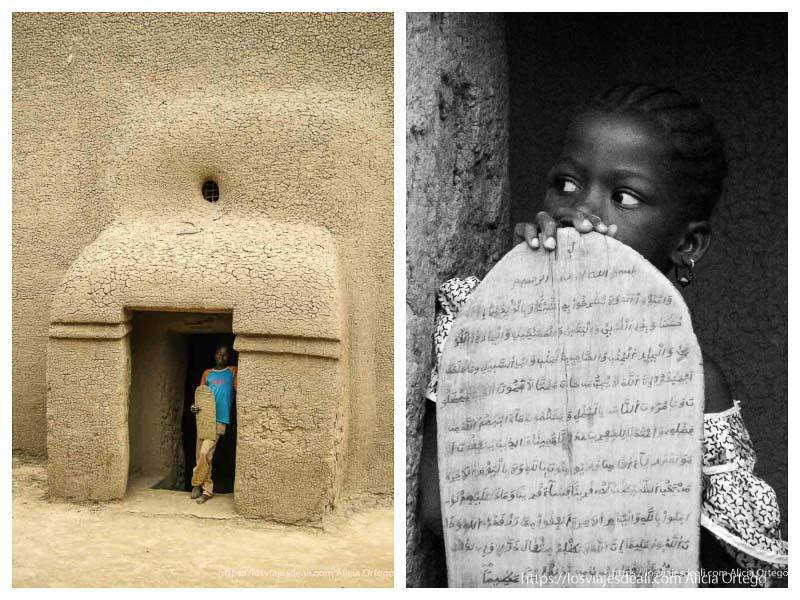 niños con sus tablas del corán en djenné
