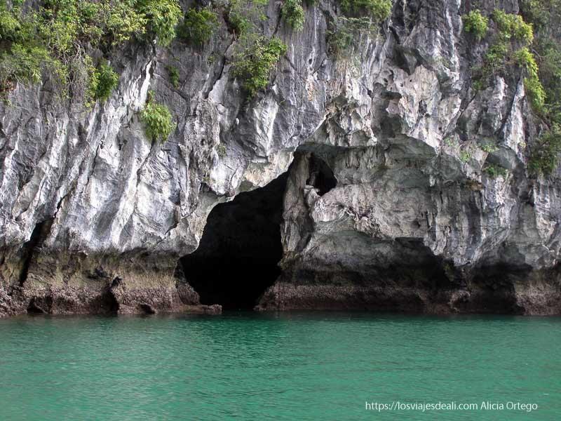 formación kárstica sobre el agua en la bahía de ha long