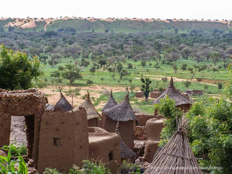 graneros y casas con campo verde y dunas al fondo pais dogon