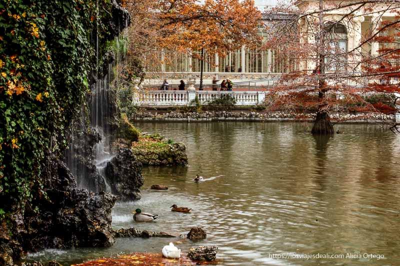 cascada patos y palacio de cristal de el retiro al fondo