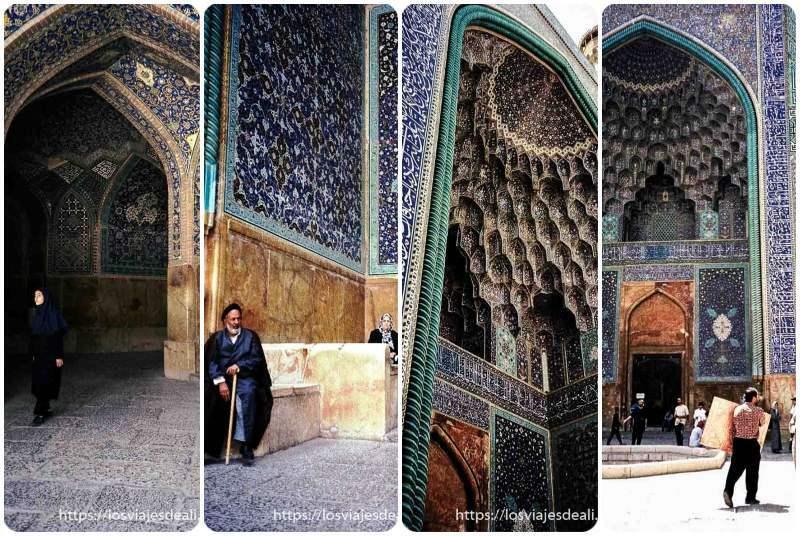 collage de fotos de las mezquitas de isfahan llenas de azulejos de colores azules