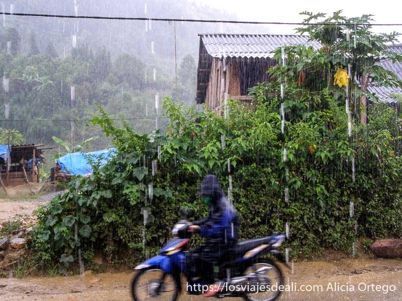 motorista circulando bajo la lluvia del monzón en el norte de vietnam