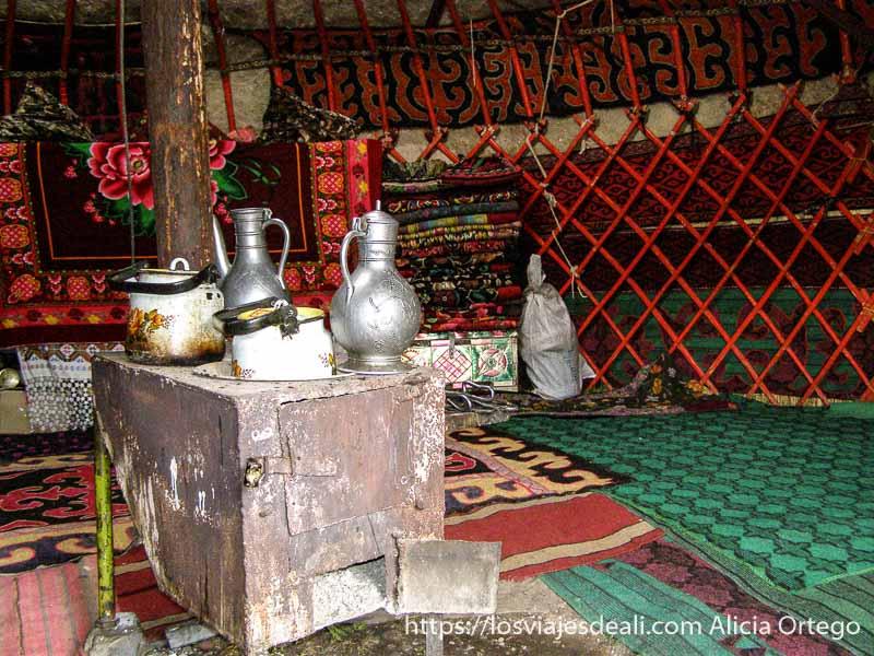 interior de una yurta campo base del pico lenin