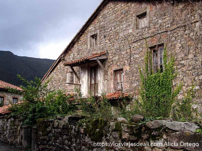 casa de piedra con hiedra en la pared y murete delante junto al parque natural saja besaya