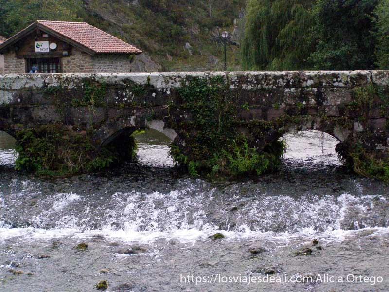 puente con ojos por donde pasa el agua en Ruente, junto al parque natural saja besaya