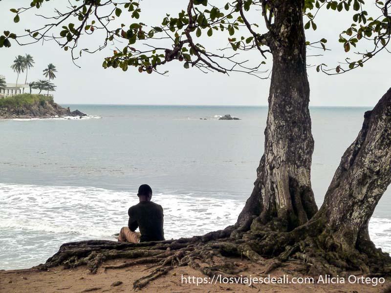 chico de espaldas mirando al mar sentado bajo gran árbol sur de camerún kribi