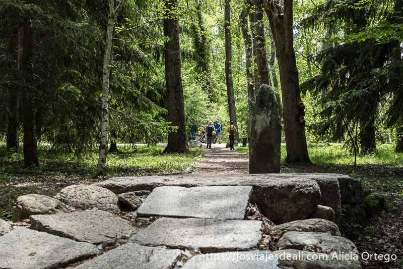 puente de piedra con un pequeño monolito y grandes abetos dando sombra en la ruta de 1 día en el valle del lozoya