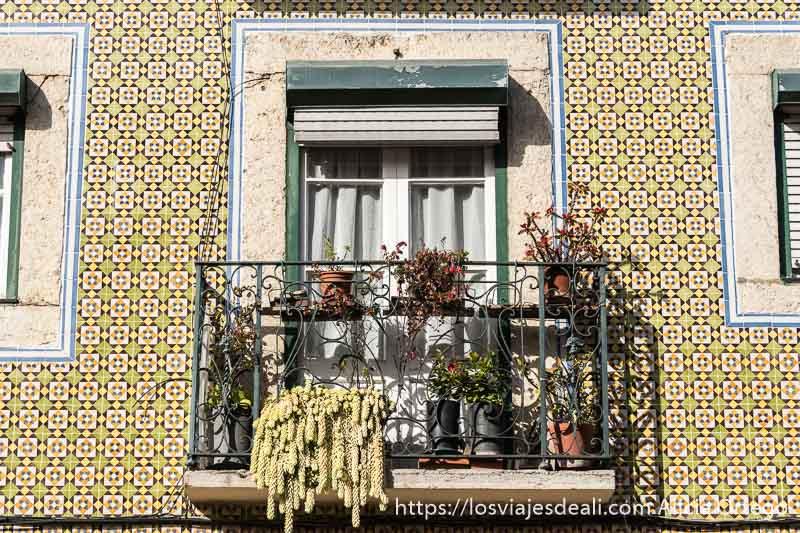 fachada de azulejos con balcón con plantas en belem