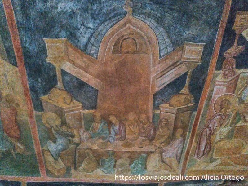 pintura al fresco de la iglesia de ivanovo donde se ve la última cena en una habitación