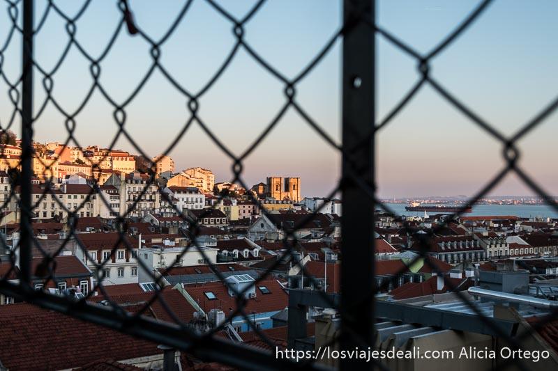 vistas de lisboa con la catedral y el río con luz de atardecer a través de una alambrada de rombos
