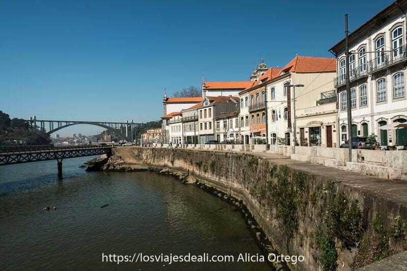 camino junto al duero haciendo curva y a la derecha hilera de casas típicas de portugal