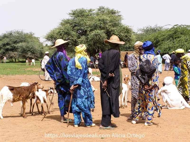 grupo de hombres con turbantes y sombreros de paja de ala ancha con palos finos en las manos para guiar al ganado y árboles detrás en el mercado africano de gorom gorom