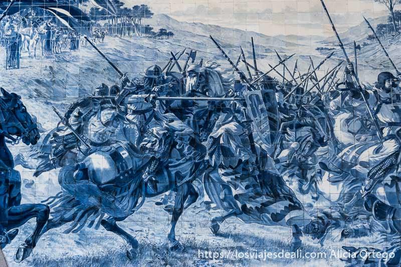 escena de batalla en los azulejos de la estación