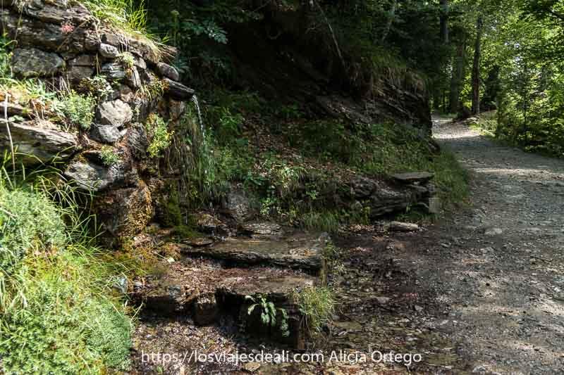 fuente de agua en el camino que consiste en un caño por el que cae el agua del glaciar