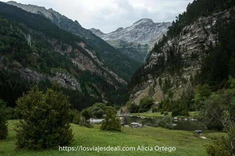 valle de Ara con forma de V y un río que atraviesa prados verdes y laderas con roca y bosques de pinos