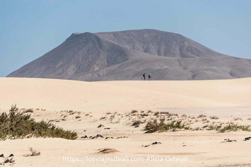 caldera de volcán alzándose detrás de las dunas de corralejo y dos personas sobre la más alta