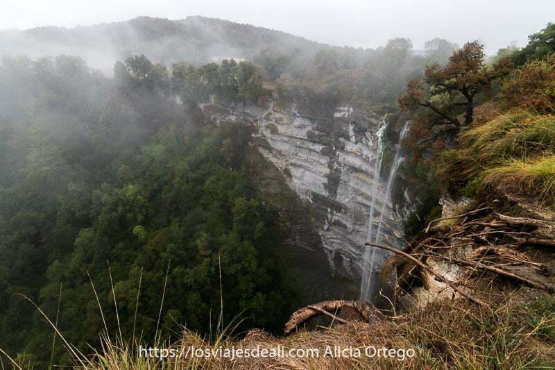 cascada de gujuli cayendo por pared caliza de 100 metros con niebla y bosques alrededor