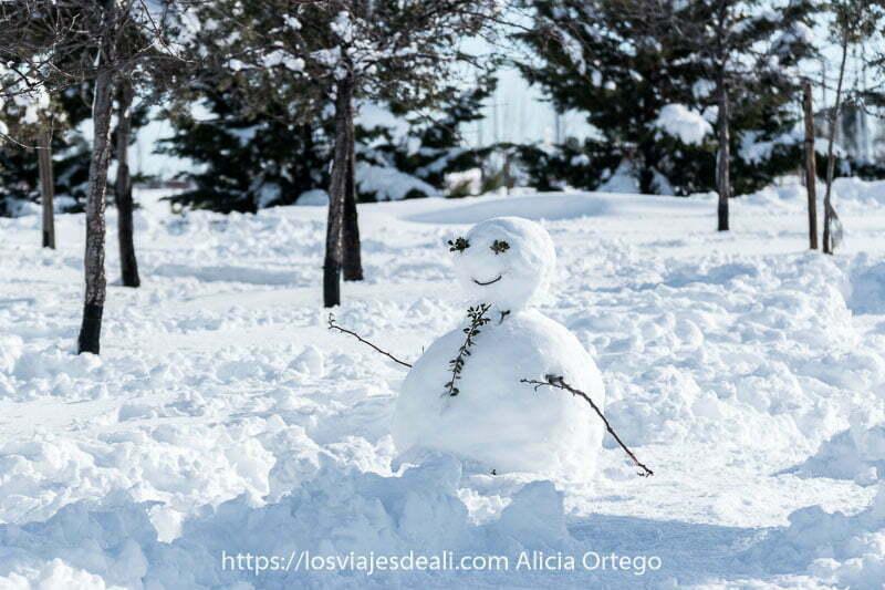 muñeco de nieve en madrid con ramas por brazos y hojitas en los ojos