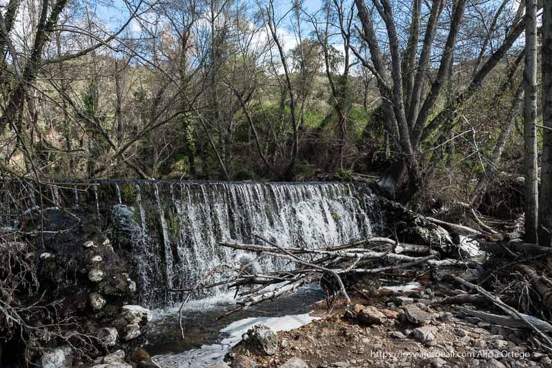pequeña cascada artificial en el río guadalix con muchos árboles altos alrededor