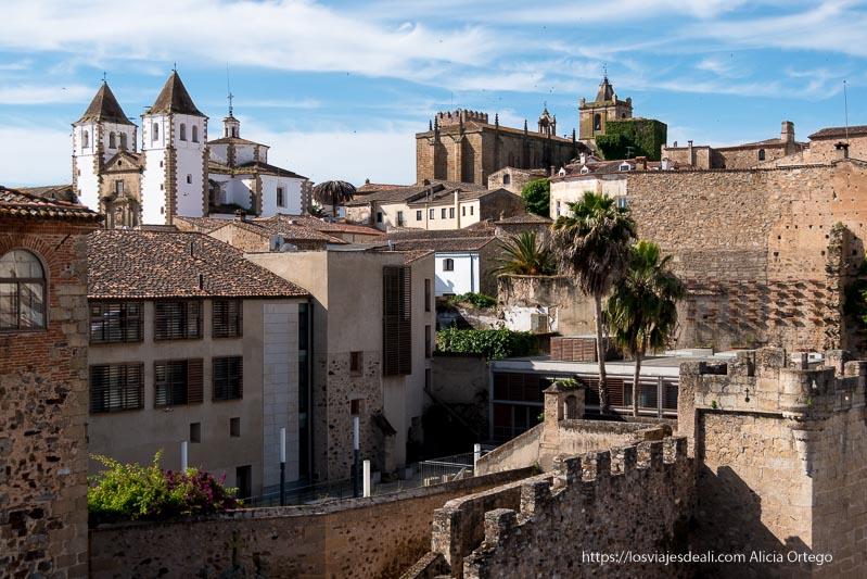 vista de casco histórico de cáceres desde las murallas