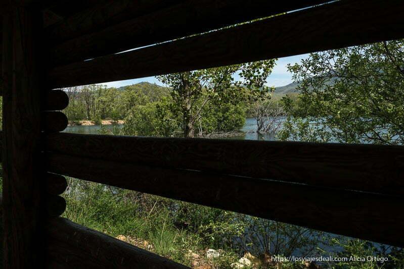 vista de la laguna del salmoral desde hide para observar aves