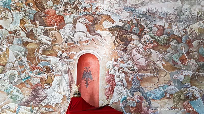 mural de pinturas con una batalla del héroe Skanderberg contra los turcos