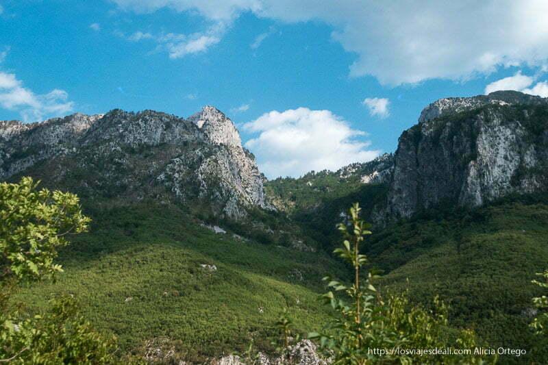 montañas con picos de roca y laderas llenas de bosque verde