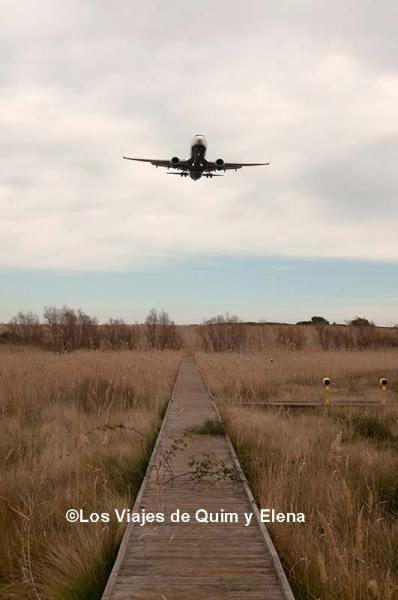 Un avión llegando a la pista 25L