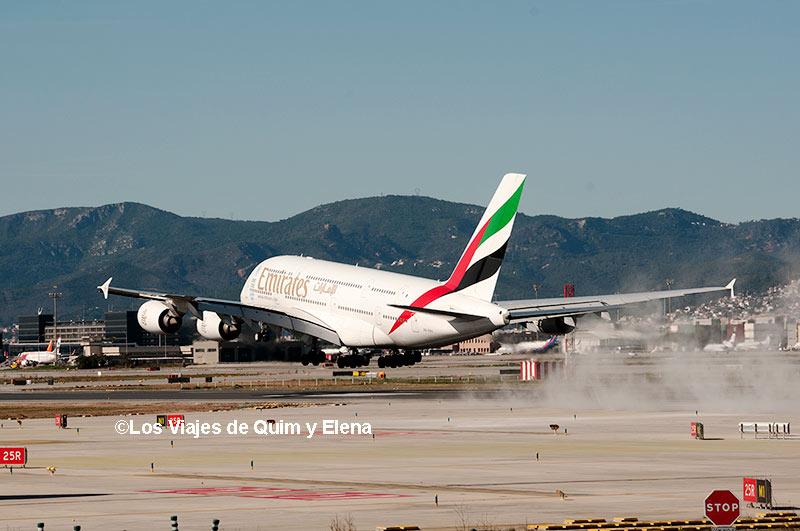 El A380 aterrizando, haciendo spotting en Barcelona