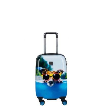 Walizka kabinowa Saxoline Blue Happy Dog S