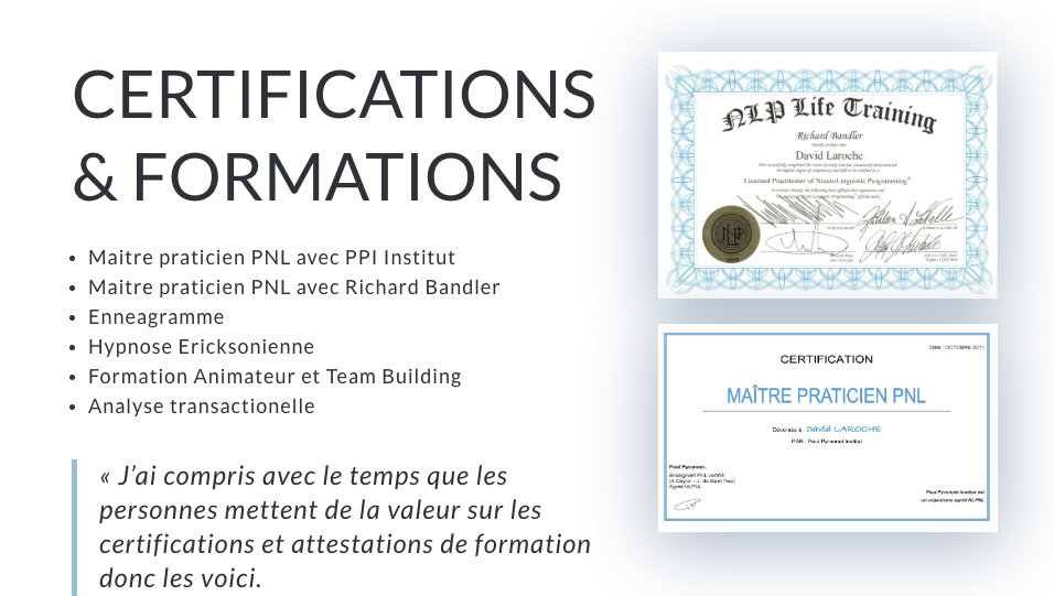 certifications david laroche