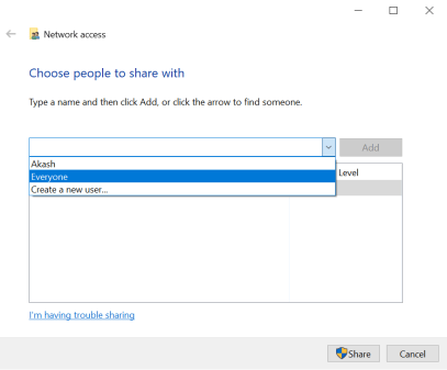 file sharing from one PC to another PC