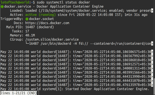 check installation of docker on Ubuntu 20.04
