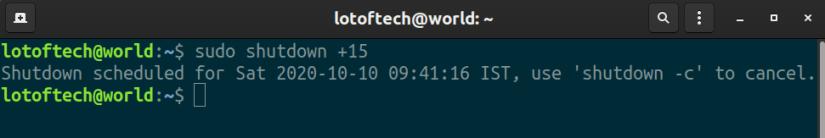 Shutdown Linux using shutdown command with time delay