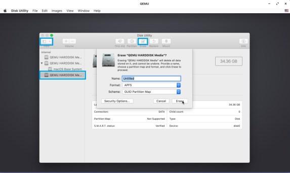 Erase disk while installing macos in VM